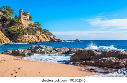 Costa Brava, Spain. Castle on the rocks at Lloret de Mar.