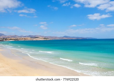 Costa Calma beach at Fuerteventura, Canary Islands. Beautiful clear water and clean beaches.