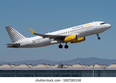 COSTA DEL SOL, MALAGA - 7 JUNE : Vueling Airbus A320 at Malaga airport. June 7, 2017.