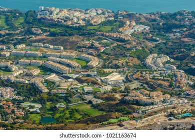 Costa del sol seen from the top of Mount Calamorro, a resort region on the Mediterranean coast on September 3, 2017 in Benalmadena, Andalusia province, Spain.