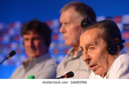 COSTA DO SAUIPE, BRAZIL: DEC 5: Former soccer players: Uruguayan Alcides Ghiggia(R), English Geoff Hurst (C), and Argentinian Mario Kempes (L) attend a press conference at the 2014 World Cup FIFA Draw on December 5, 2013 in Costa do Sauipe, Bahia.