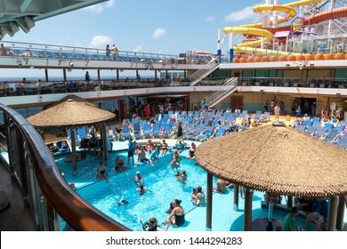 Costa Maya / Mexico - circa June 2019: Carnival Vista cruise from Galveston Texas to Costa Maya Mexico. Carnival Cruise Lines.