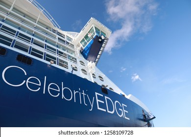 COSTA MAYA, MEXICO - DECEMBER 13, 2018: New cruise ship liner Celebrity Edge  docked in tropical port during sunny day