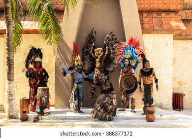 """COSTA MAYA MEXICO JAN 30 2016:Pre-Hispanic Mayan performance called """"Dance of the Owl"""" in Costa Maya Cruise ship Terminal & Resorts. Perfect place for visitor since many attractions awaiting."""