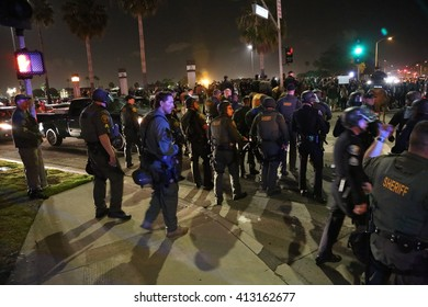 Costa Mesa, CA - April 28, 2016: Protesters of republican presidential candidate Donald Trump, Riot in the streets while the police control the crowd and mak e arrest  at a rally at the Costa Mesa CA.