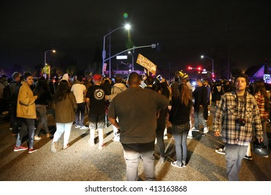 Costa Mesa, CA - April 28, 2016: Supporters and protesters of republican presidential candidate Donald Trump, at a rally at the Costa Mesa CA.