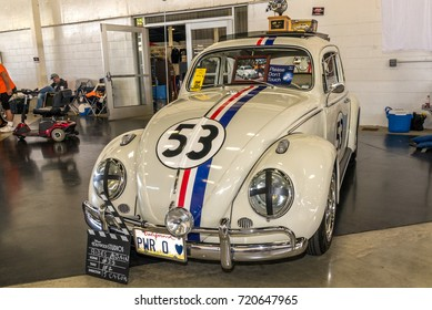 "Costa Mesa, California - September 23, 2017 Cruisin' for a Cure Auto Show. Herbie the volkswagon bug featured in the movie ""The Love Bug"""