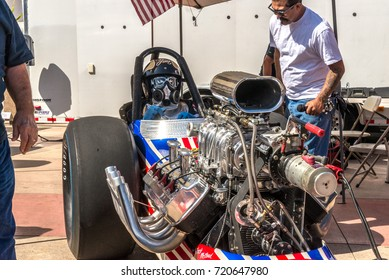 Costa Mesa, California - September 23, 2017 Cruisin' for a Cure Auto Show. Dragster