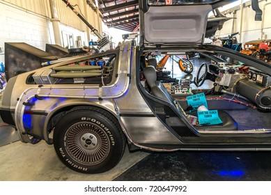 "Costa Mesa, California - September 23, 2017 Cruisin' for a Cure Auto Show. Delorean Car features in film ""Back to the future"""