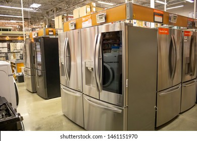 Costa Mesa, California/United States - 06/08/19: Several refrigerator units for sale at Home Depot