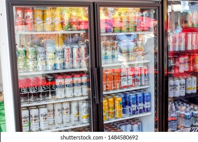 Costa Mesa, California/United States - 07/17/2019: A commercial refrigerator full of tall beer cans