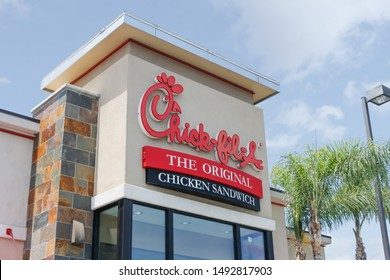 Costa Mesa, California/United States - 07/30/2019: A store front sign for the fast food chicken sandwich chain known as Chick-Fil-A