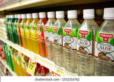 Costa Mesa, California/United States - 09/22/2019: Several bottles of Faraon Aloe Vera drinks at the grocery store.