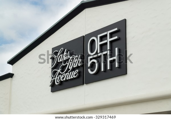 COSTA MESA, CA/USA - OCTOBER 17, 2015: Saks Fifth Avenue outlet store exterior. Saks Fifth Avenue is an American luxury department store.