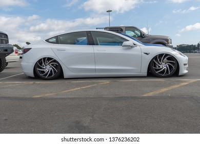 Costa Mesa,USA - April 20, 2019: American electric car Tesla Model 3 exhibited at Torqued tour presented by SPOCOM at the OC Fair & Event Center.