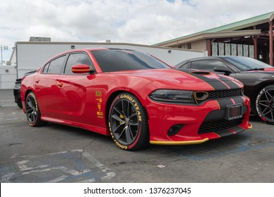 Costa Mesa,USA - April 20, 2019: American muscle car Dodge Charger exhibited at Torqued tour presented by SPOCOM at the OC Fair & Event Center.