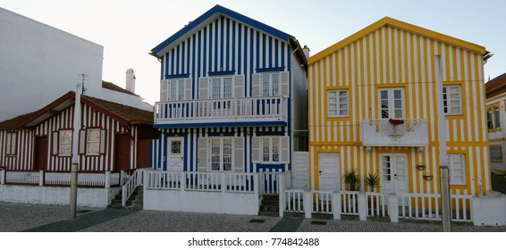 Costa Nova candy striped beach houses, Ilhavo, Aveiro, Portugal