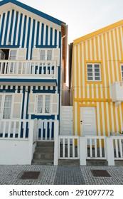 COSTA NOVA, PORTUGAL - MAY 13, 2015: famous stripy houses