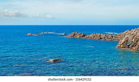 Costa Paradiso rocky shore on a cloudy day