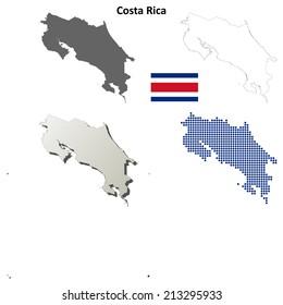 Costa Rica blank detailed outline map set - jpeg version