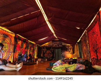 COSTA RICA, CENTRAL AMERICA - JUL 29, 2018: Couple lying down after Ayahuasca Cerimony inside a Tent