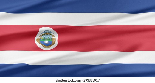 Costa Rica  Flag. Flag with a beautiful glossy silk texture.