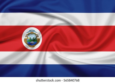 Costa Rica flag with fabric texture. Flag of Costa Rica. 3D illustration.