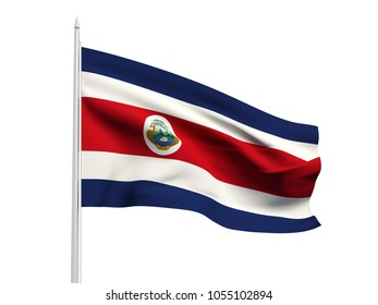 Costa Rica flag floating in the wind with a White sky background. 3D illustration.