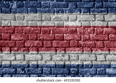 Costa Rica Flag Painted on brick wall