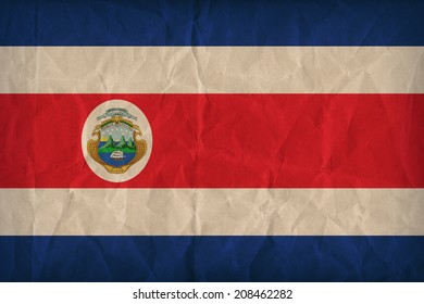 Costa Rica flag pattern on the paper texture ,retro vintage style