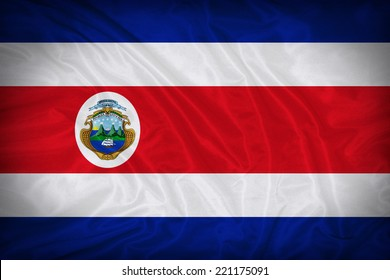 Costa Rica flag pattern on the fabric texture ,vintage style
