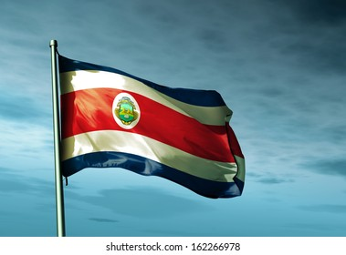 Costa Rica flag waving on the wind