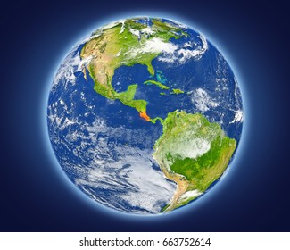 Costa Rica highlighted in red on planet Earth. 3D illustration with detailed planet surface. Elements of this image furnished by NASA.