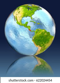 Costa Rica on globe with reflection. Illustration with detailed planet surface. Elements of this image furnished by NASA.