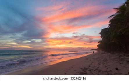 Costa Rica, Playa Santa Teresa at sunset, Mal Pais, beach with surfers and tourists