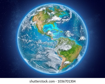 Costa Rica in red on model of planet Earth with clouds and atmosphere in space. 3D illustration. Elements of this image furnished by NASA.