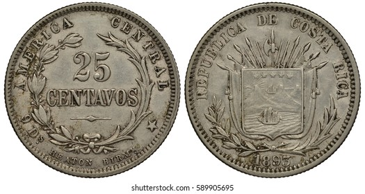 Costa Rica Costa Rican silver coin 25 twenty five centavo 1893, face value within wreath, Heaton mint, coat of arms, halberds, flags, rifles, lances, sail ship, sea, mountains, bay,
