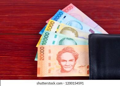 Costa Rican Colon in the black wallet