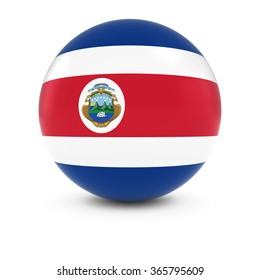 Costa Rican Flag Ball - Flag of Costa Rica on Isolated Sphere