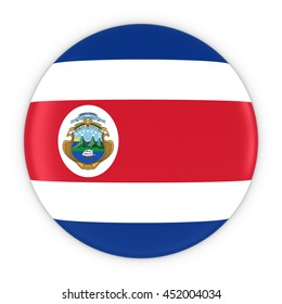 Costa Rican Flag Button - Flag of Costa Rica Badge 3D Illustration
