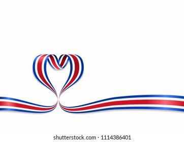 Costa Rican flag heart-shaped wavy ribbon. Raster version.