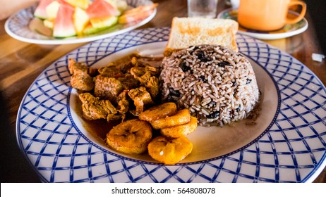 Costa Rican Food Ethnic Cuisine Rice and Beans Gallo Pinto Rice Plantain Beef Tropical Food Restuarant Costa Rica resort Vacation breakfast Lunch Dinner Tropical Plate of Food Paradise Plaintain