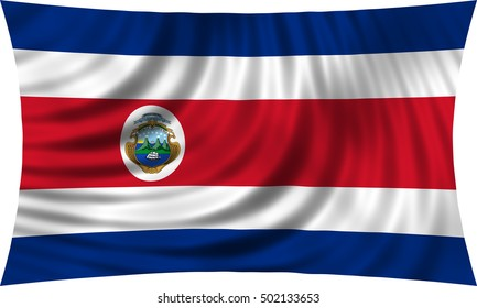 Costa Rican national official flag. Patriotic symbol, banner, element, background. Correct colors. Flag of Costa Rica waving, isolated on white, 3d illustration