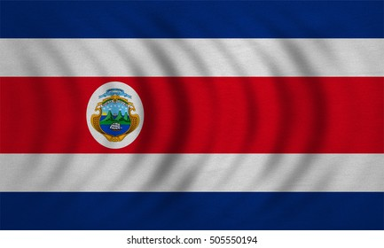 Costa Rican national official flag. Patriotic symbol, banner, element, background. Correct colors. Flag of Costa Rica wavy with real detailed fabric texture, accurate size, illustration