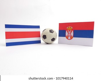 Costa Rican and Serbian flag with football ball isloated on white background