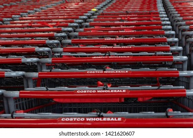 Costco wholesale shopping carts in lines. Picture is taken in Costco Raritan-Flemington New Jersey in June 3rd 2019