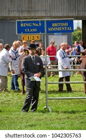 COSTESSY, NORFOLK, UK – JUNE 25, 2014: Cattle being judged at a livestock competition at the Royal Norfolk Show.