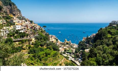 Costiera Amalfitana, Salerno, Campania, Southern Italy: the coast at summer (July): view of Positano