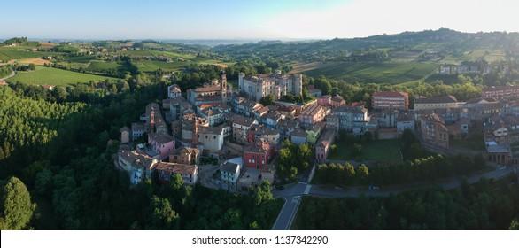 Costigliole d'Asti town (Piedmont, Italy): aerial landscape monferrato langhe