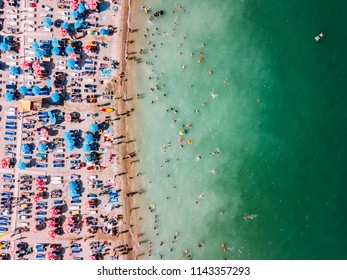 COSTINESTI, ROMANIA - JULY 11, 2018: Aerial Drone View Of People Having Fun And Relaxing On Costinesti Beach In Romania